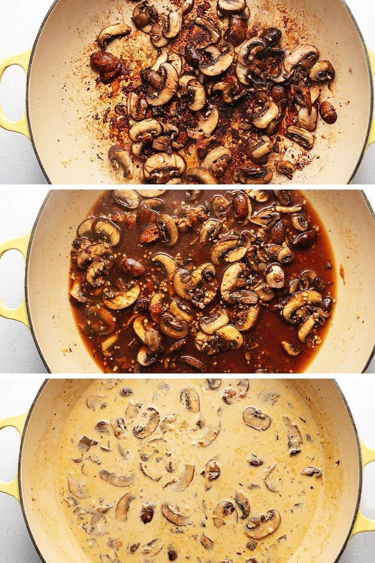 steps to making mushroom sauce in a skillet