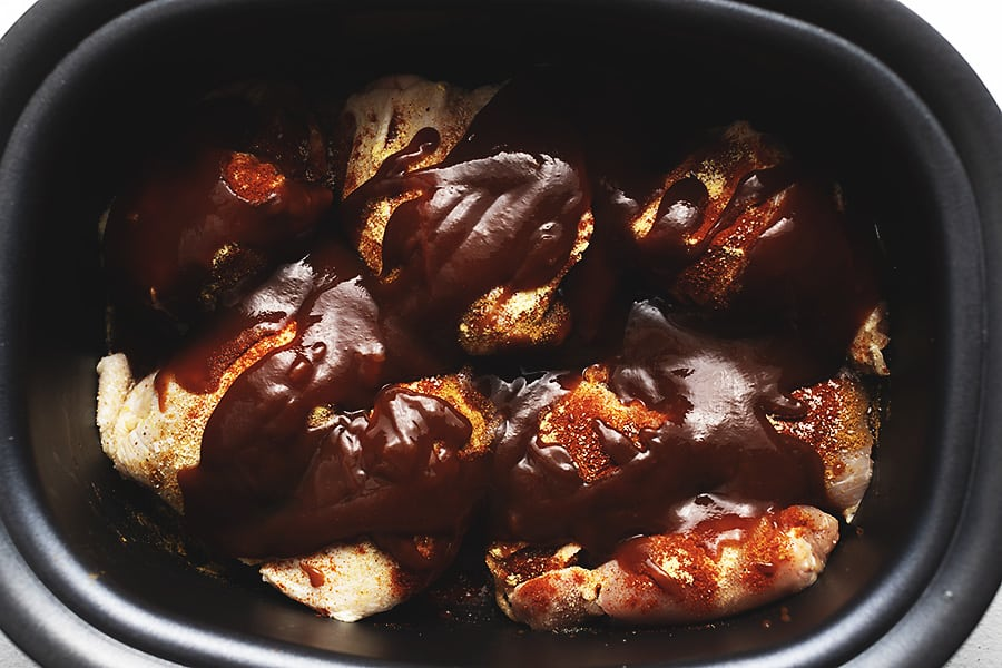 chicken thighs in a crockpot with bbq sauce