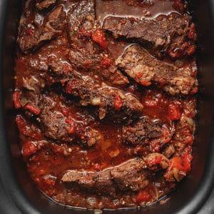 Italian short ribs in a slow cooker