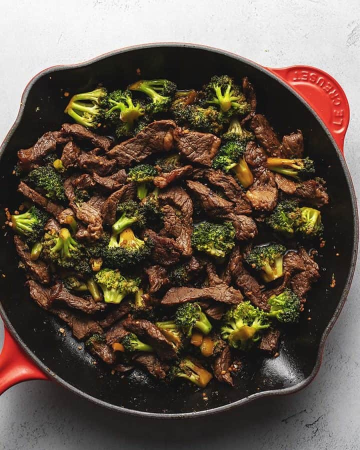keto beef and broccoli in a red skillet
