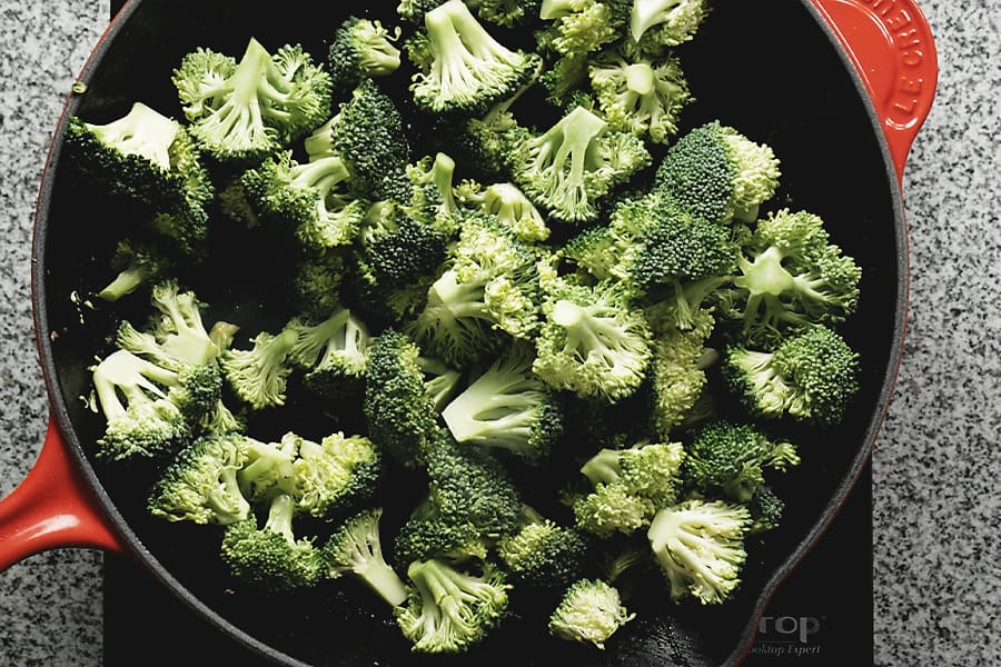 broccoli in a red skillet
