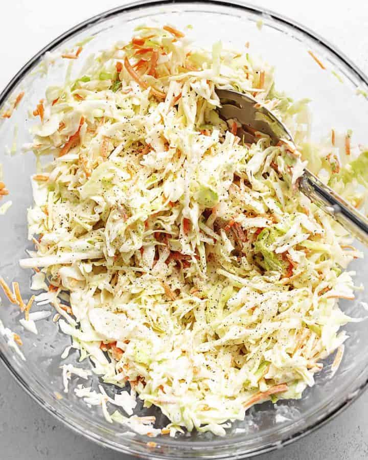 keto coleslaw in a glass bowl