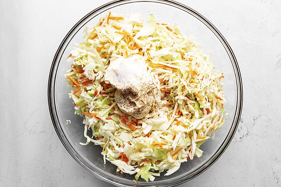 keto coleslaw ingredients in a bowl