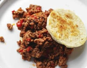 keto sloppy joes on a white plate