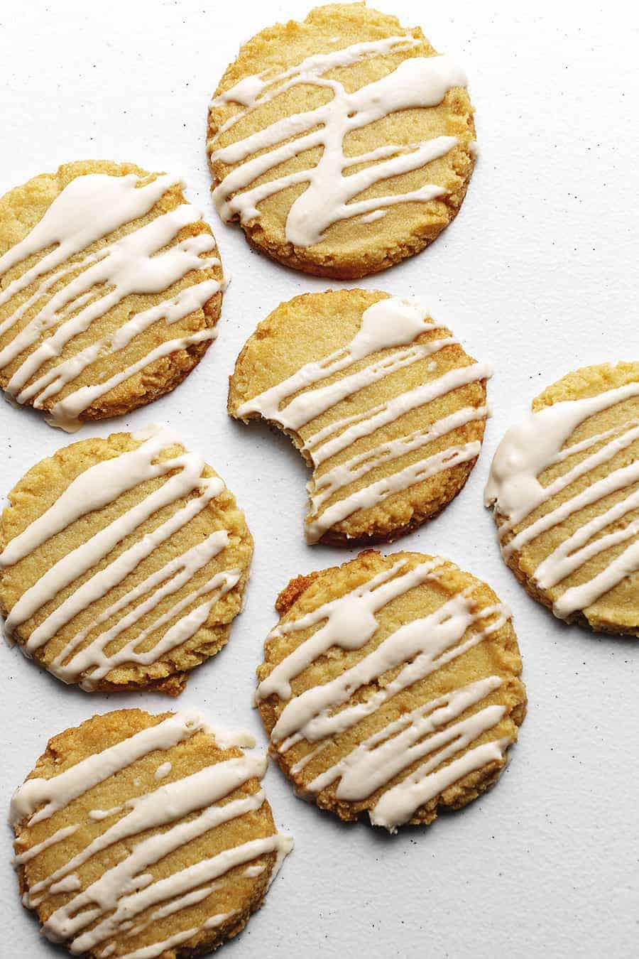 soft cookies with icing on a white background