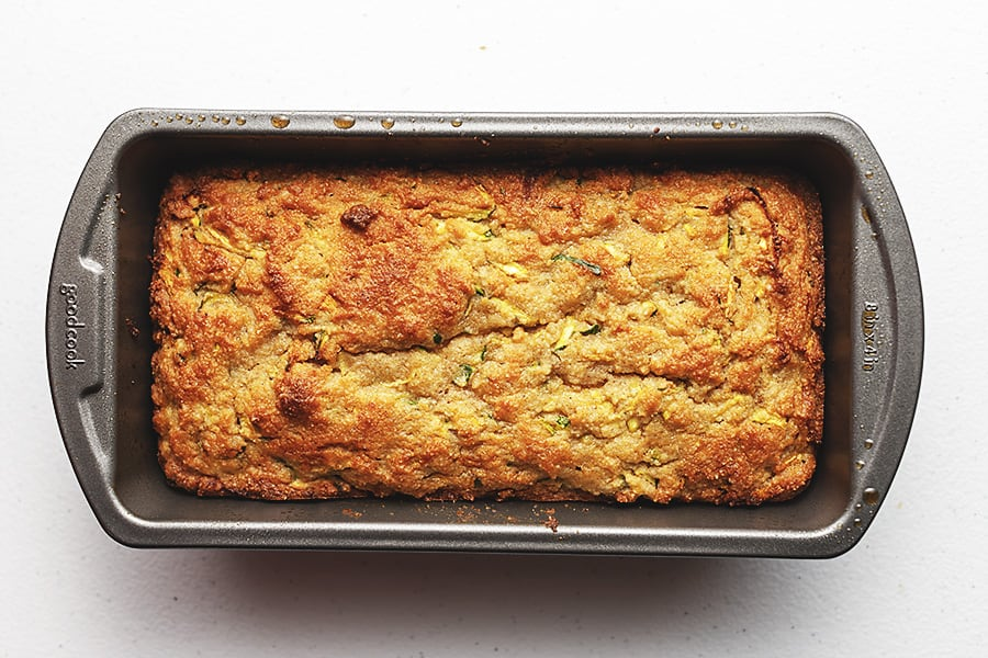 HEALTHY zucchini bread in loaf pan