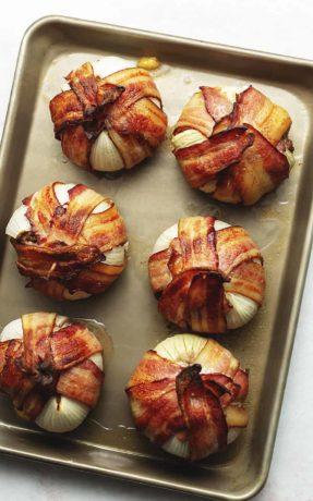 6 onion bombs on a sheet tray