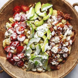 roasted cauliflower cobb salad in a large bowl