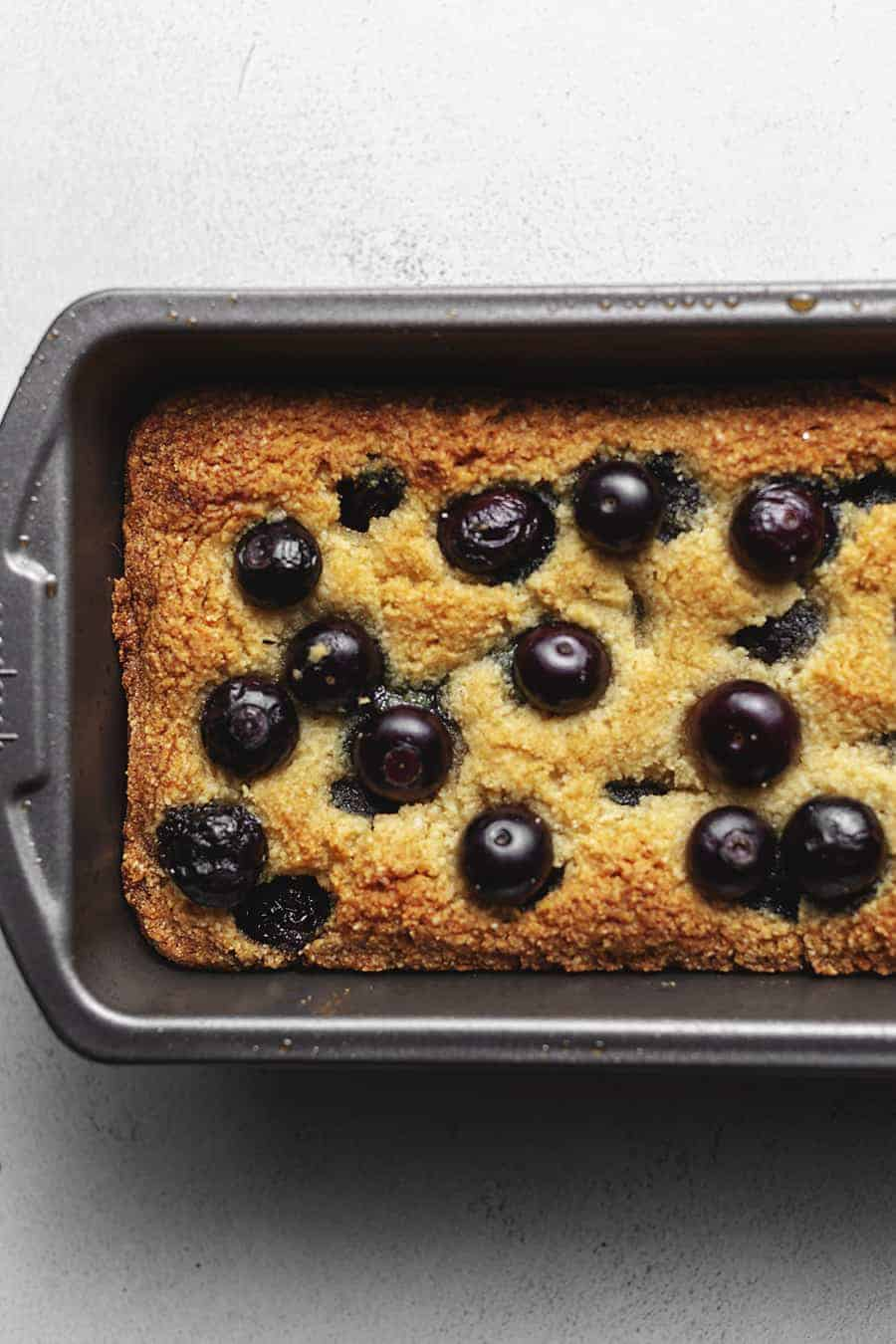keto blueberry bread in a loaf pan