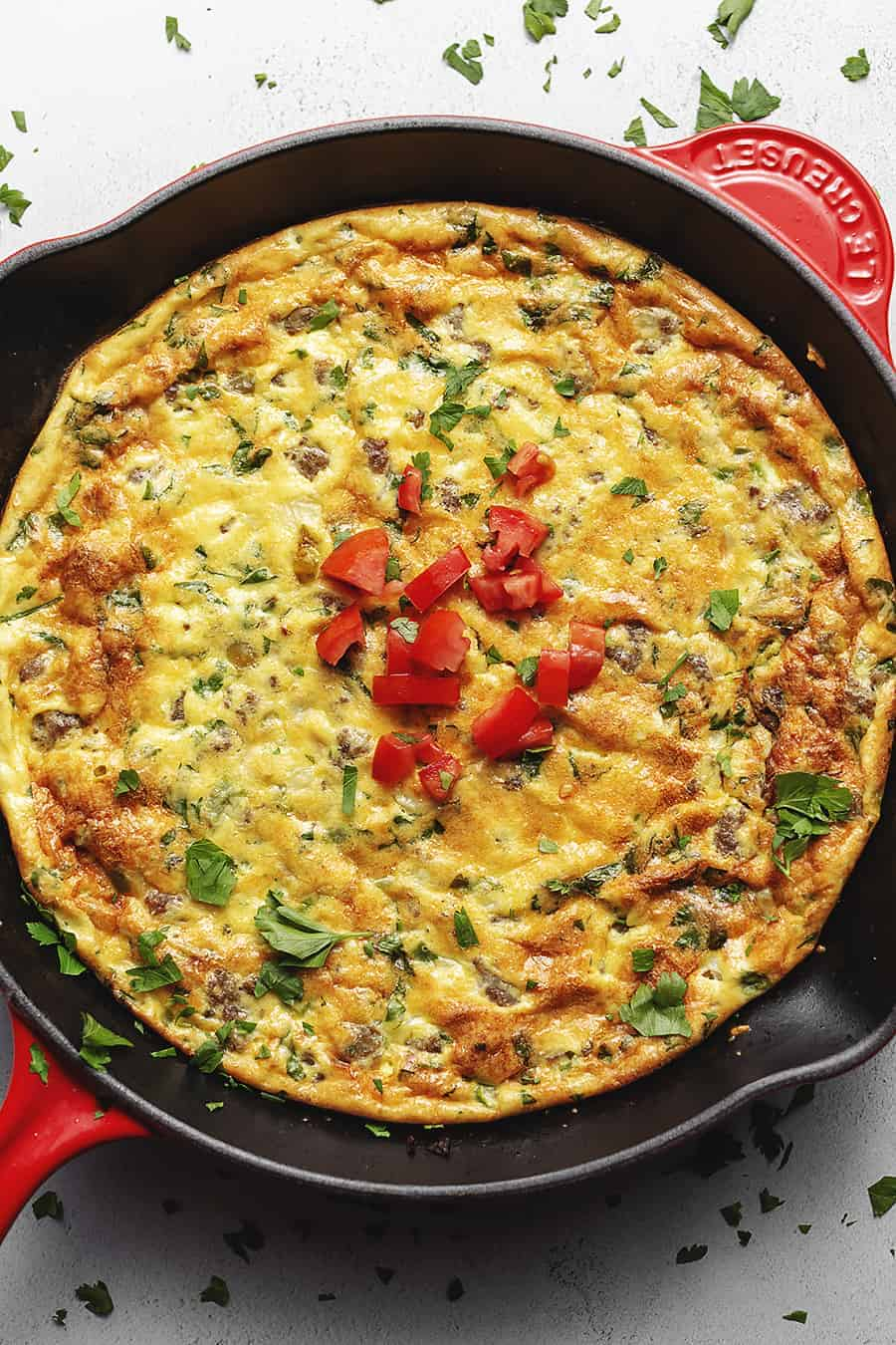 keto frittata in a red skillet