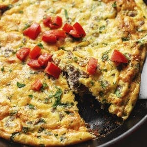 keto frittata with sausage in a skillet
