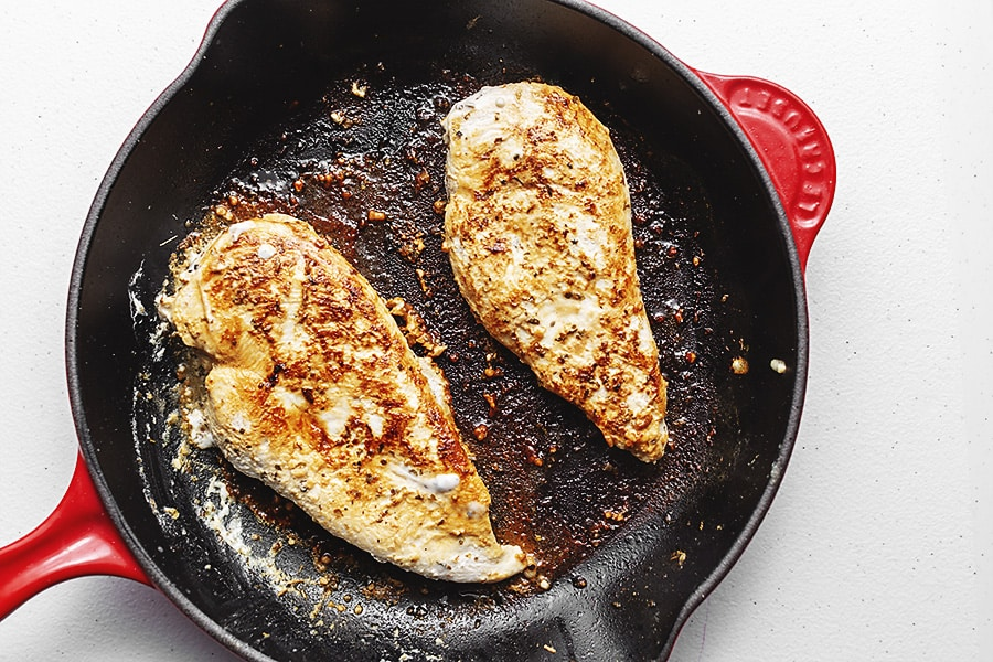 chicken breast in a large skillet