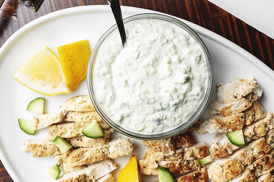 tzatziki sauce on a white platter