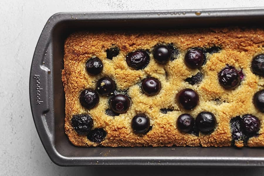 blueberry bread in a loaf pan