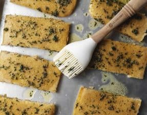 keto garlic bread on a sheet pan