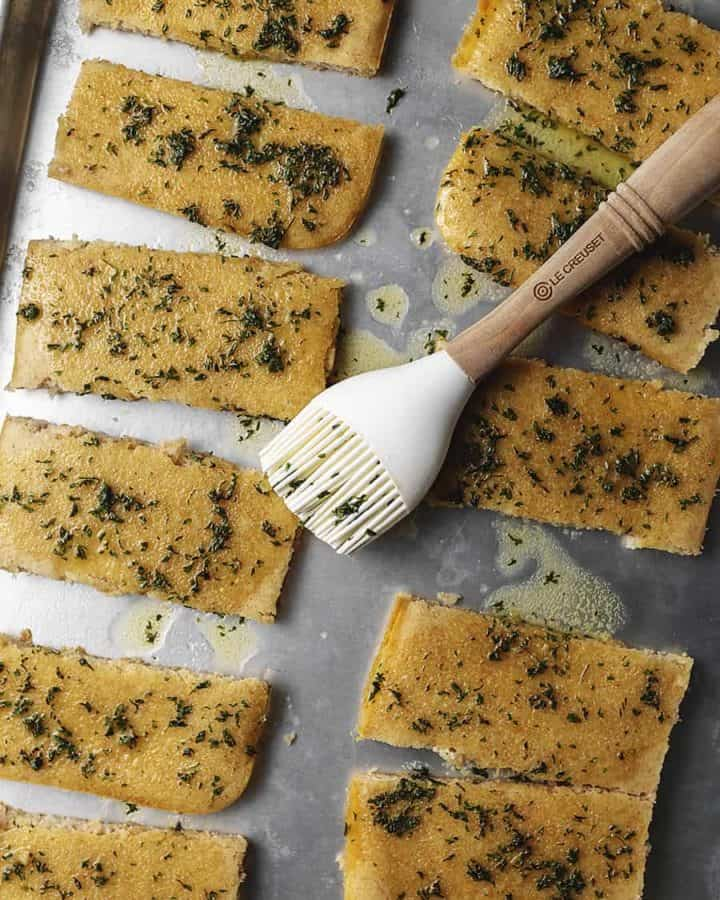 keto garlic bread on a sheet pan