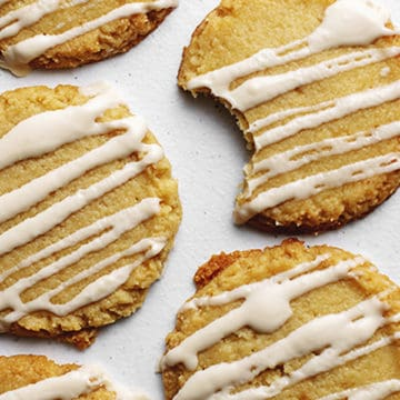 soft low carb sugar cookies with drizzle icing