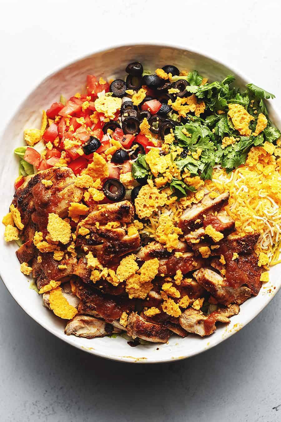 keto taco salad in a big white bowl