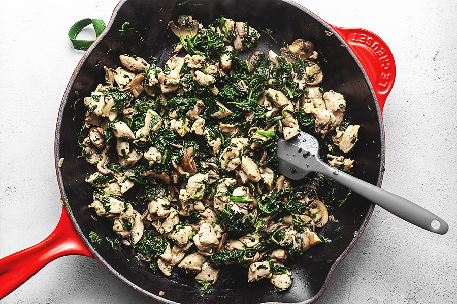 chicken Florentine savory crepe filling ingredients in a skillet