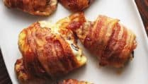 bacon wrapped chicken thighs Pinterest pin