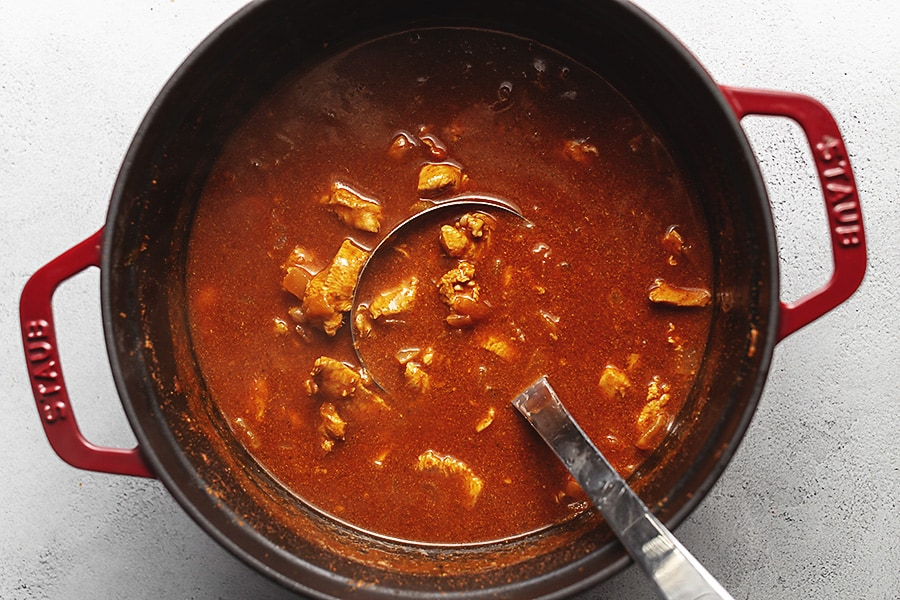 chicken enchilada soup in a large pot
