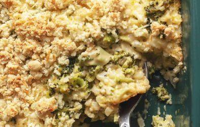 keto broccoli casserole in a dish