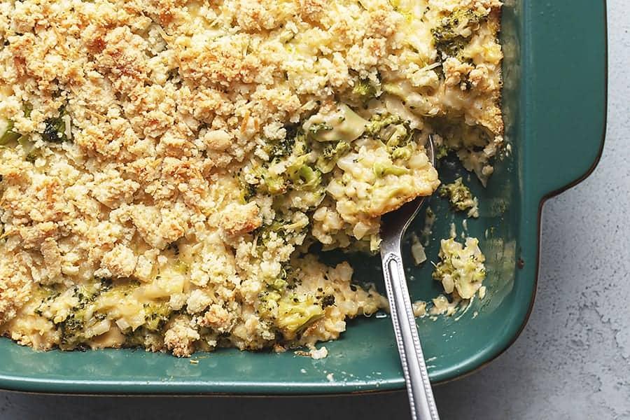 keto broccoli casserole in a casserole dish