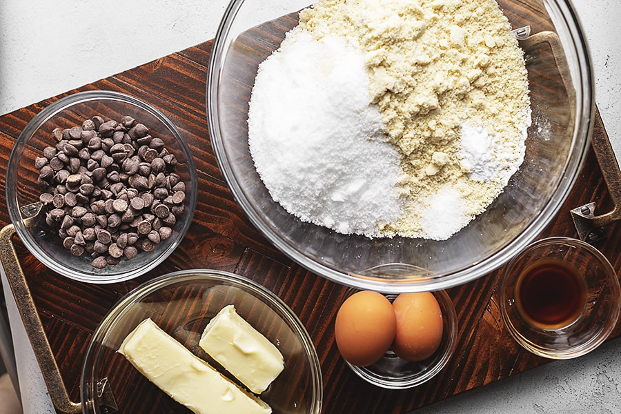 Ingredients for keto chocolate chip cookie