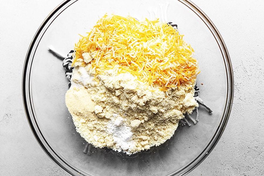 keto mexican cornbread almond flour, salt and baking powder in glass bowl