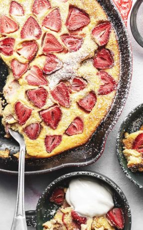 keto clafoutis in a cast iron skillet
