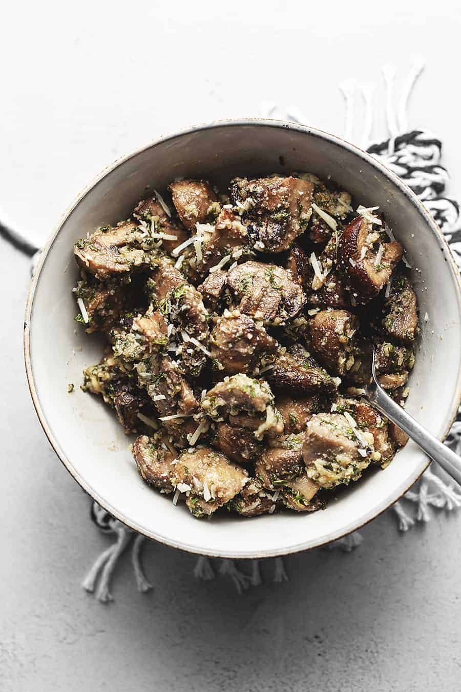 roasted mushrooms in a white bowl