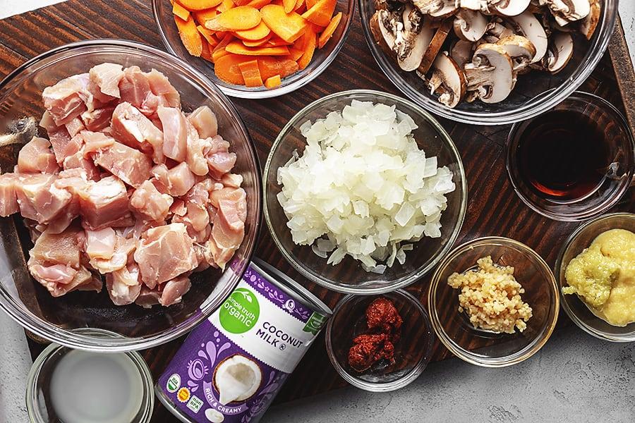 TOM KHA GAI ingredients in bowls on a platter