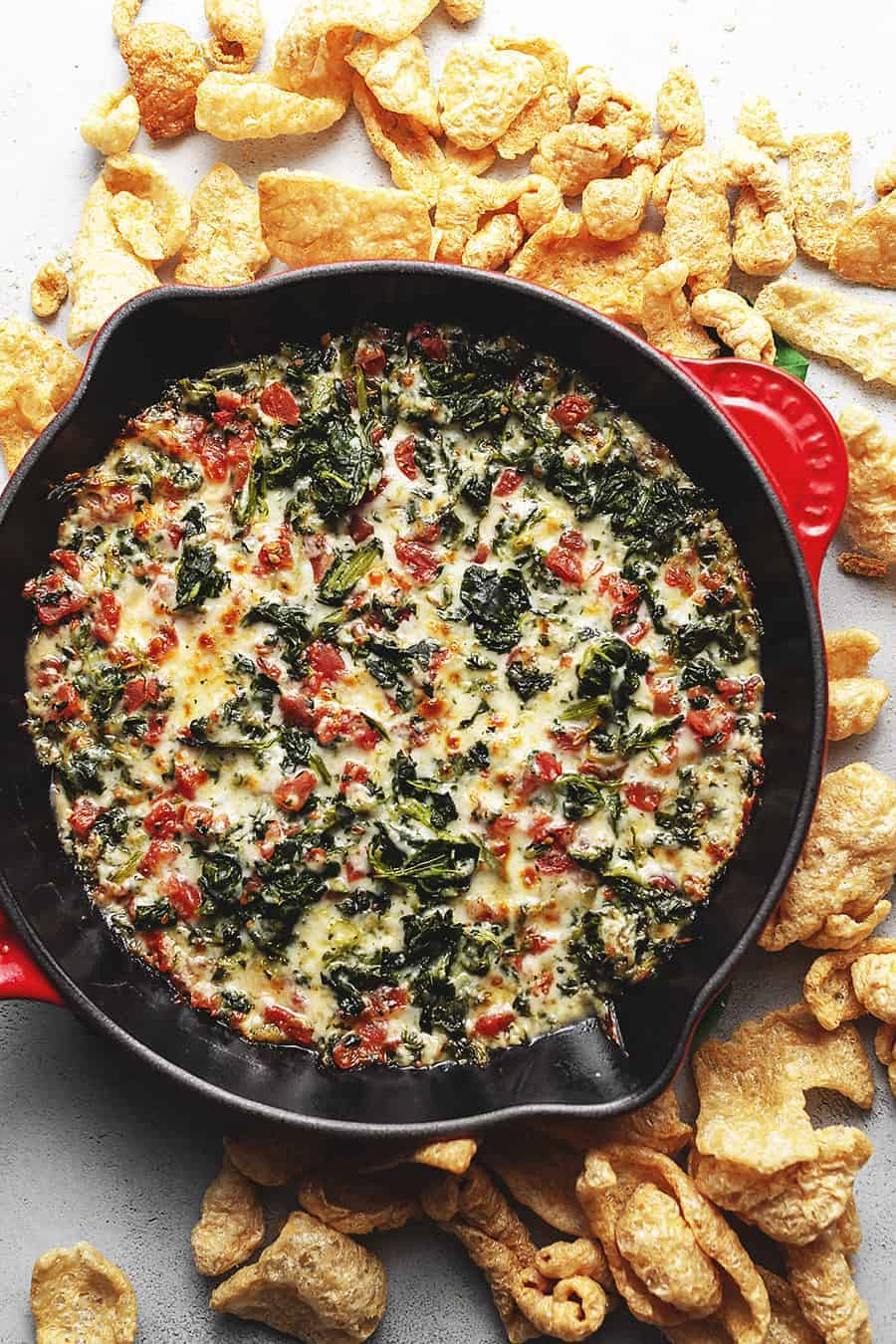 spinach dip with pork rinds