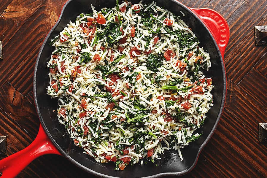 3 ingredient spinach dip process in a cast iron skillet