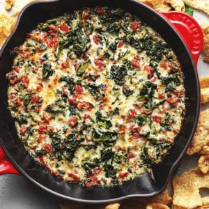 3 ingredient spinach dip in a cast iron skillet