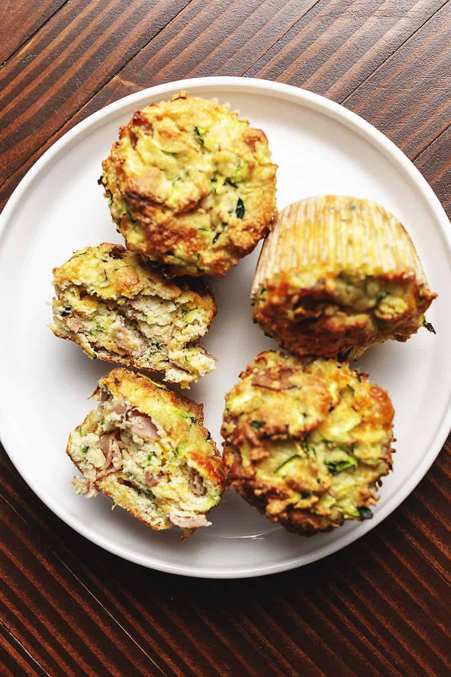 keto breakfast muffins on a white plate