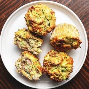 keto breakfast muffins on a white platter