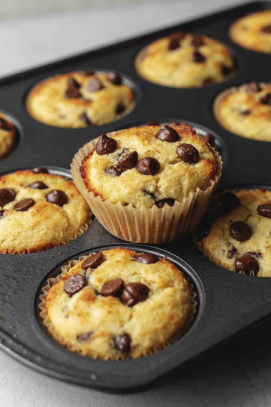 keto chocolate chip muffins in a muffin tin