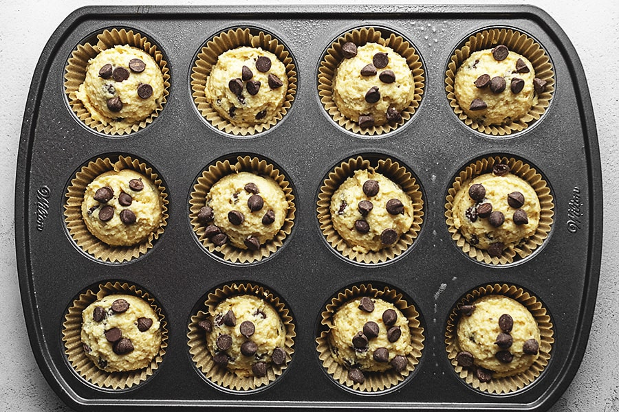 Keto chocolate chip muffin batter in a muffin pan