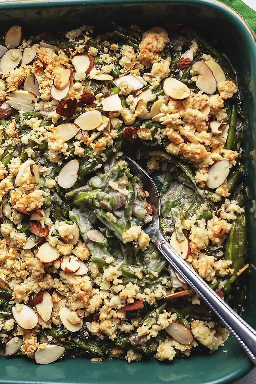 keto green bean casserole in a baking dish