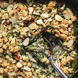 keto green bean casserole in a casserole dish