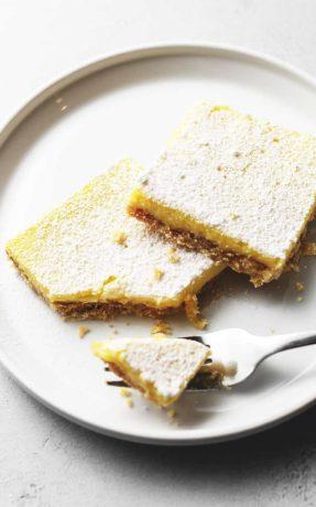 keto lemon bars on a white plate