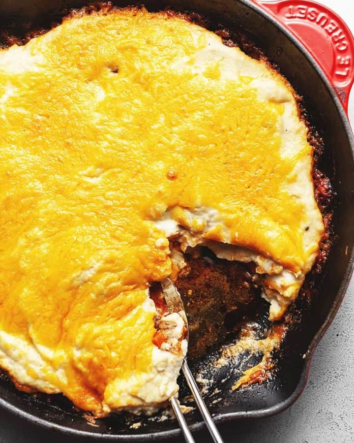 keto shepherds pie in a skillet
