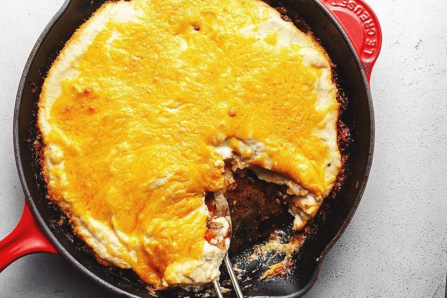 keto sheperd's pie baked in a skillet