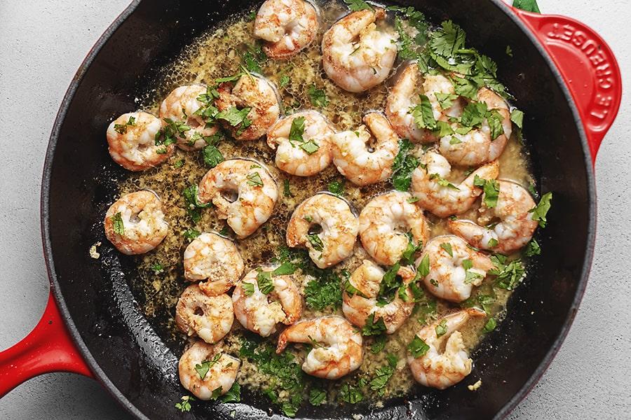 keto shrimp in a skillet