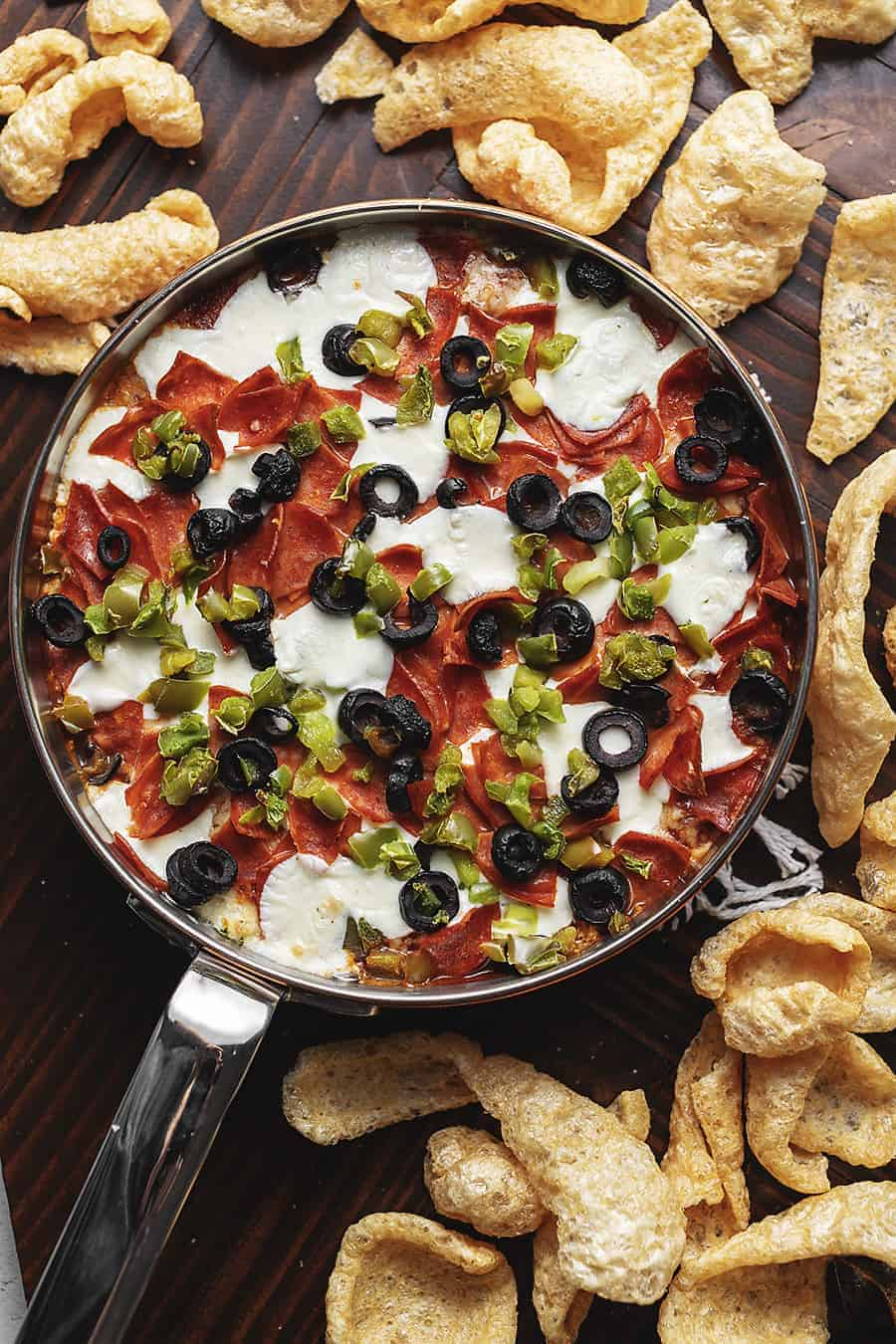 supreme pizza dip in a skillet