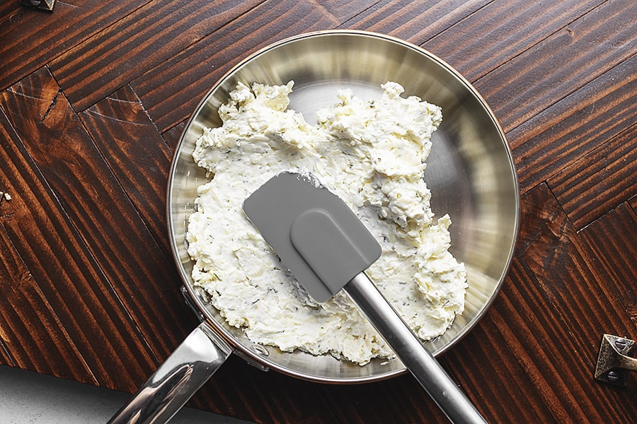 cream cheese, mozzarella and parmesan mixture in a skillet
