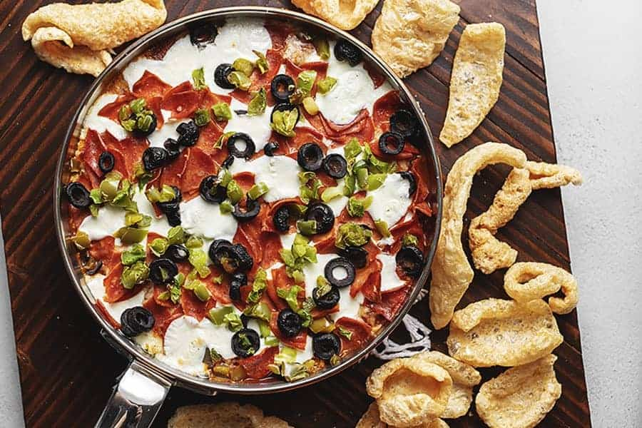easy supreme pizza dip with pork rinds