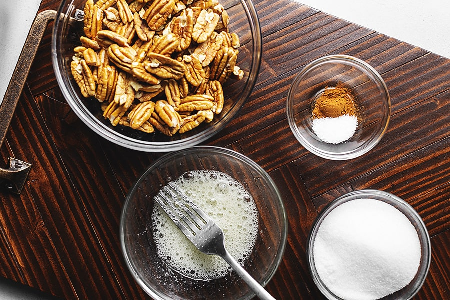 Ingredients for keto candied pecans