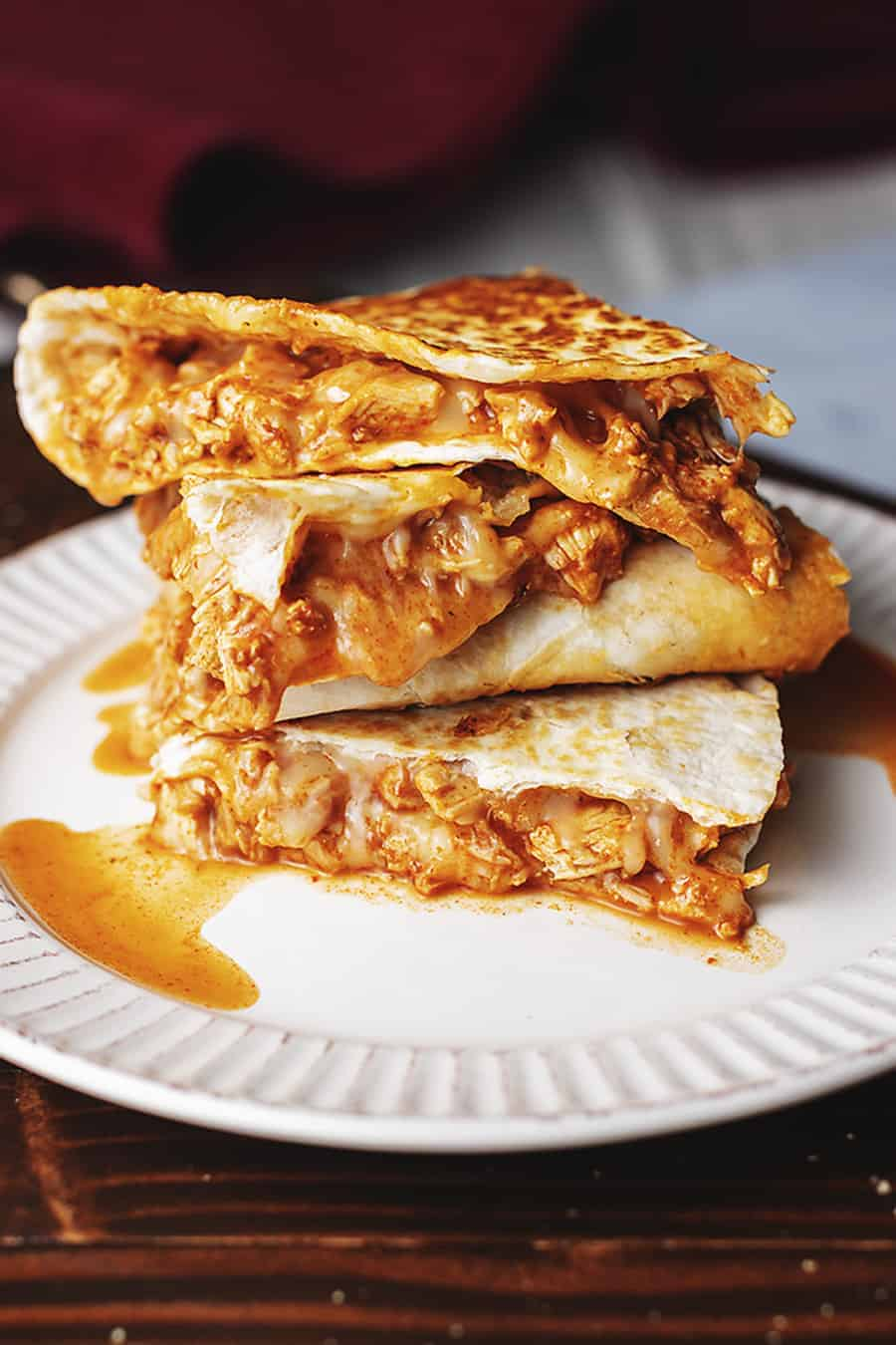 keto chicken enchilada quesadillas on a white plate
